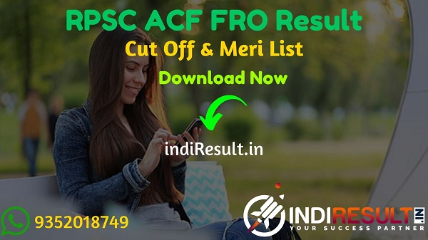 RPSC ACF FRO Result 2021 - Download Rajasthan RPSC Forest Range Officer ACFResult, Cut off & Merit List 2021.Result Date Of RPSC ACF FRO Exam is March 2021