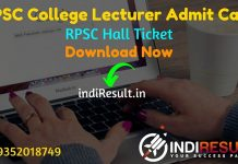 RPSC College Lecturer Admit Card 2021 – Download RPSC Rajasthan College Lecturer Admit Card. Rajasthan PSC published College Lecturer Admit Card on website.