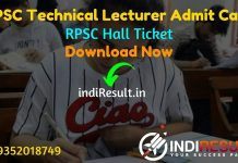 RPSC Technical Lecturer Admit Card 2021 – Rajasthan Public Service Commission published RPSC Admit Card of Technical Lecturer Exam 2021 Download Now