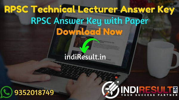 RPSC Technical Lecturer Answer Key 2021 - Download RPSC Technical Lecturer Solved Answer Key pdf & RPSC Answer Key with Question Paper rpsc.rajasthan.gov.in