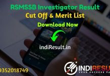 RSMSSB Investigator Result 2021- Check RSMSSB Rajasthan Investigator Result, Cut off & Merit List. Result Date Of RSMSSB Investigator Exam is March 3rd Week