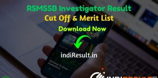 RSMSSB Investigator Result 2021 - Check RSMSSB Rajasthan Investigator Result, Cut off & Merit List. Result Date Of RSMSSB Investigator Exam is 05 May 2021.