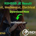 RSMSSB JE Result 2021- Rajasthan RSMSSB JEN Civil, Mechanical, Electrical Result, Cut off & Merit List 2021. Result Date Of RSMSSB JE Exam is March 3rd Week