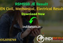 RSMSSB JE Result 2021- Rajasthan RSMSSB JEN Civil, Mechanical, Electrical Result, Cut off & Merit List 2021. Result Date Of RSMSSB JE Exam is March 3rd Week