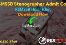 RSMSSB Stenographer Admit Card 2021 - Download Rajasthan RSMSSB Steno Admit Card 2021. As Per Notification RSMSSB Stenographer Exam Date is 21 March 2021.