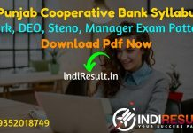 Punjab State Cooperative Bank Syllabus 2021 - Download Punjab State Cooperative Bank PSCB DEO, Steno, Manager Syllabus Pdf in Hindi/English/Punjabi.