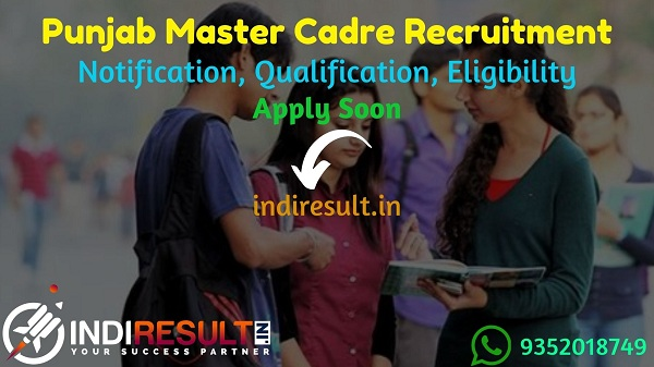 School Education Punjab Master Cadre Recruitment 2021 - ApplyPunjab Master Cadre VacancyNotification, Eligibility Criteria, Salary, Age Limit, Last Date.
