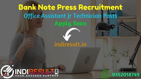 Bank Note Press Office Assistant Jr Technician Recruitment 2021 - BNP Dewas released 135 Junior Office Assistant & Junior Technician Vacancy Notification.