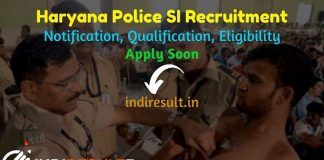 Haryana Police SI Recruitment 2021 - Haryana HSSC 465 Police SI Vacancy Notification, Eligibility Criteria, Age Limit, Salary, Qualification, Last Date.