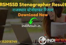 RSMSSB Stenographer Result 2021 - Download RSMSSB RajasthanStenographerResult, Cut off & Merit. Result Date Of RSMSSB Stenographer Exam is 16 July 2021.