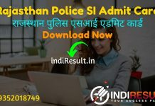 Rajasthan Police SI Admit Card 2021 – Download Rajasthan RPSC SI Admit Card. Rajasthan Public Service Commission published RPSC Sub Inspector Admit Card.
