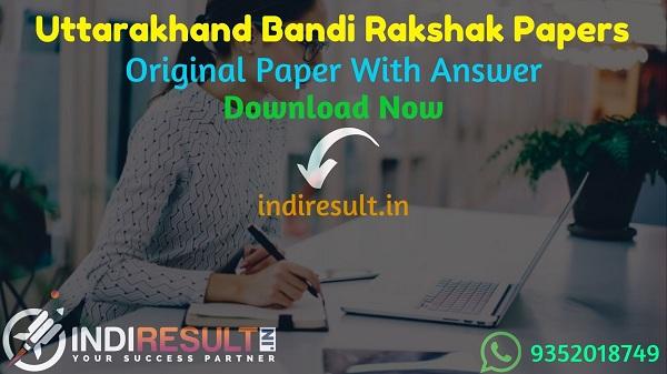 UKSSSC Jail Guard Previous Question Papers - Download Uttarakhand Jail Guard Previous Year Papers Pdf with Answer Key, UKSSSC Bandi Rakshak Old Paper.