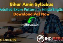 Bihar Amin Syllabus 2021 - Download BCECEB Amin Syllabus in Hindi Pdf, Get Bihar Amin Offical Syllabus Pdf & Bihar Amin Exam Pattern Pdf Download.