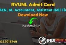 RVUNL Admit Card 2021 - Download RVUNL JE, AEN, Informatics Assistant, Jr Chemist, Jr Accountant, Jr Assistant, Steno, JLO Admit card @ energy.rajasthan.