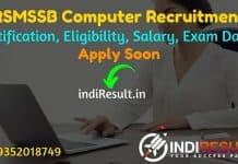 RSMSSB Computer Recruitment 2021: Apply RSMSSB 250 Sanganak Vacancy Notification, Eligibility, Age Limit, Salary, Qualification, Selection, Last Date.