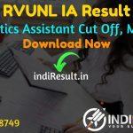 RVUNL IA Result 2021 – Download Rajasthan RVUNL Informatics AssistantResult, Cut Off, Merit List. The Result date of RVUNL IA Exam is 01 October 2021.