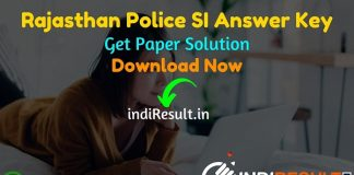 Rajasthan Police SI Answer Key 2021 -Download RPSC SI Answer Key Pdf, Rajasthan Police Sub Inspector Answer Key 13, 14, 15 September,Rajasthan SI Answer Key