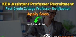 KEA Assistant Professor Recruitment 2021 -Apply Online for Karnataka Examination Authority 1242 First Grade College Assistant Professor Vacancy Notification