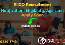 RIICO Recruitment 2021:Apply Online Rajasthan RIICO released 217 Junior Assistant, Stenographer, JE, JLO, Accounts Officer, Programmer Vacancy Notification